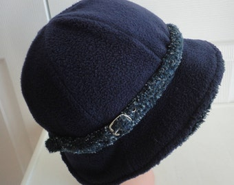 80s Navy Polyester Women Hat Large 23 inches Trendy