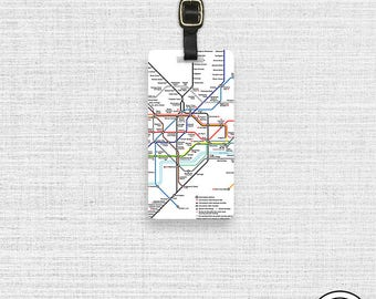Luggage Tag London Underground Map,  Personalized Metal Tag Single Tag  Custom information on Backs Choice of Straps