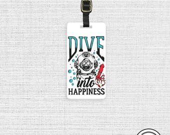 Luggage Tag Dive into Happiness Metal Luggage Tag With Custom Info On Back, Single Tag