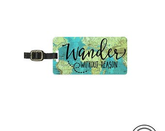 Luggage Tag  Wander without reason Vintage Map Metal Luggage Tag  With Printed Info On Back, Single Tag