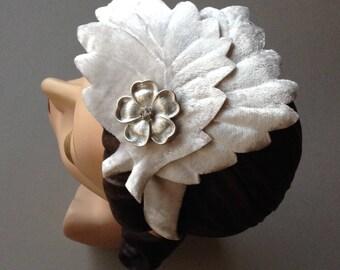 Bridal Headpiece Headband, Hand Embossed Ivory Velvet Leaves with Silver and Rhinestone Flower on Grey Velvet Headband