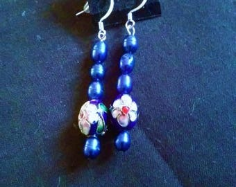 Royal Blue Cloisonne and Freshwater Pearl Earrings