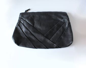 Vintage 1980s Pleated Black Leather Clutch Bag
