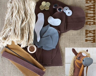 """Small Stick Horse Hobby Horse Mustang Collection """"Flaxen Chestnut"""" Sewing Kit Easy Sewing Project Toddler Size"""