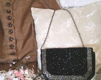 black vintage beaded bag, black and silver bag, vintage beaded purse, box evening bag, black beaded bag, party purse