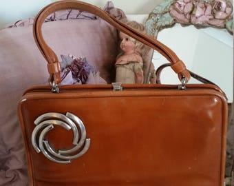vintage 60s bag, rust brown colour, unusual details, snap clasp, 60s costume, brown vintage purse