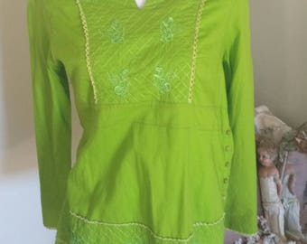 vintage lime green top, embroidered clothing, elven costume, woodland shirt, hippy gypsy, festival top