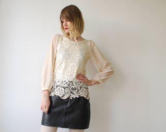 80s cream lace blouse. chiffon sleeve top. lace tunic - small