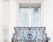Paris Photograph - Balcony at Apartment 7, Architecture Photography, Large Wall Art, Neutral French Home Decor, Fine Art Photo, Gallery wall