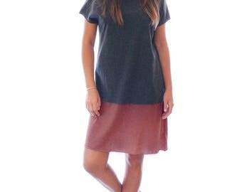 Grey shirt dress, Hand dyed Charcoal & Rhubarb dress, summer dress
