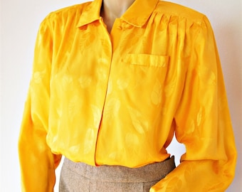 Silk Blouse Vintage Oleg Cassini Secretary Slouchy Sunshine Golden 1980's Size 10