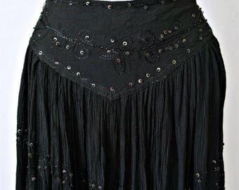 Gypsy Gauze Skirt Black Sequined Boho Renny Hippie Full Vintage Skirt Waist Size 28 Inch to 32Inch
