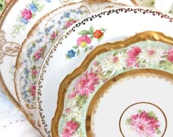 "4 Vintage Mismatched Noritake Fine China 8"" Cake Plate Set, Dessert Side Salad Plates for Mix and Match, Pink Floral w Heavy Gold SP63"