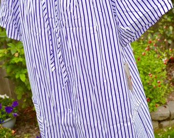 Vintage House Dress Summer Robe - NWT Sears Snap Front Housecoat - Purple White Stripe - SM