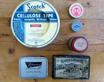 6 Old tins Advertising tins Tins with advertising Product advertising 3M Scotch tape Cotter pins Watch part tins Early stamp pad Old ads