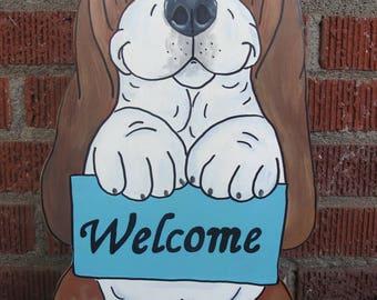 "Hand Painted Basset Hound Yard Art - ""Sweet Pea"" Welcome"