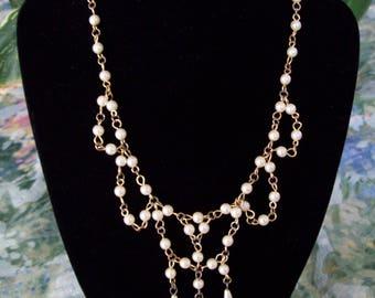 Vintage Faux Pearl Bib Choker Necklace