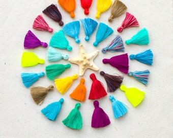Jewelry Tassels,  1.5 inch, 5pcs+, Mala Tassels,  India Cotton Tassels, Mini Mala  Tassels, Mixed Colors -TA26