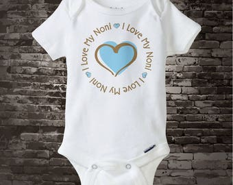 Boy's Personalized I Love My Noni Shirt or Onesie with Blue Heart 08022017b