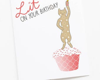 Cat Birthday Candle Lit Greeting Card