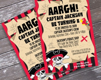 Pirate Invitation - Pirate Birthday Party, Pirate Invite, Invitation with Editable Text | DIY INSTANT Download PDF Printable