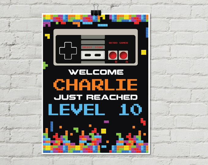 """Video Game Birthday Party Sign - 8.5""""x11"""" NES/Tetris Inspired Sign - Personalize Editable 