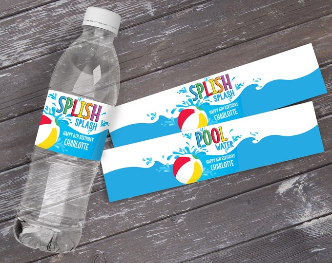 Pool Party Water Bottle Wrappers - Water Bottle Labels, Birthday Party Favors, Summer | DIY Editable Text Instant Download PDF Printable