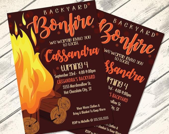 Bonfire Invitation - Backyard Bonfire, S'more Birthday, S'more Fun, Bonfire | Editable Text - DIY Instant Download PDF Printable