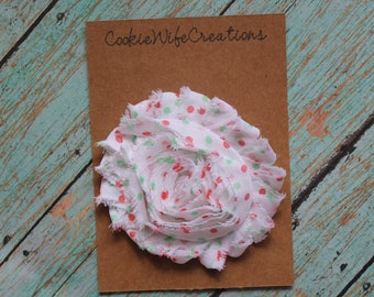Shabby White Polka Dot Flower Hair Clip