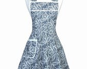 Stella Pinafore Retro Apron - Grey Leaves Womens Cute Vintage Kitchen 50s Style Apron with Pockets with Personalized Monogram Option (DP)