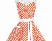 Sweetheart Retro Apron - Halloween Orange Polka Dot Flirty Pinup Kitchen Apron with Personalized Monogram Option (DP)