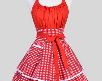 Womens Flirty Chic Apron - Cute White and Red Gingham Check Retro Vintage Style Pin Up Sexy Rockabilly Kitchen Apron with Pockets