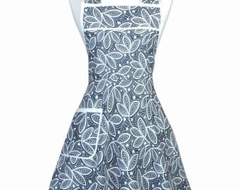50s Style Retro Apron - Amy Butler Violet Leaves in Grey Womens Cute Vintage Inspired Full Coverage Kitchen Apron with Pockets (DP)