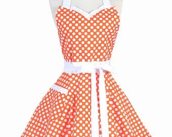 Sweetheart Pinup Womans Apron - Tangerine Orange and White Polka Dot Vintage Inspired Flirty Retro Kitchen Apron with Pocket (DP)