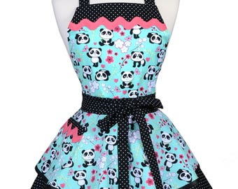 Womens Ruffled Retro Apron in Asian Panda Bears Aqua Black Kitchen Gift for Her with Personalized Monogram Option (DP)