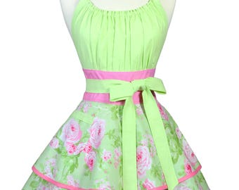 Womens Flirty Hostess Apron in Shabby Chic Green and Pink Rose Floral Retro Kitchen with Pocket - Personalized Monogram Option (DP)