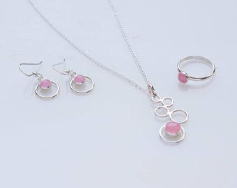 Pink Rose Quartz Jewelry Set- Pink gemstone jewelry- rose quartz- 3 piece set (necklace, earrings & ring)