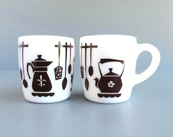 "Vintage Hazel Atlas ""Kitchen Aids"" Mugs, Set of 2 Cups, Mid-Century White Milk Glass, Made in USA, Farmhouse Kitchen"