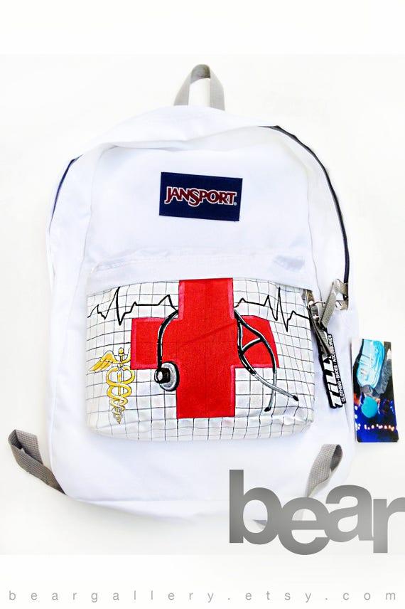 Custom Nurse JanSport Backpack Hand Painted Medical Icons