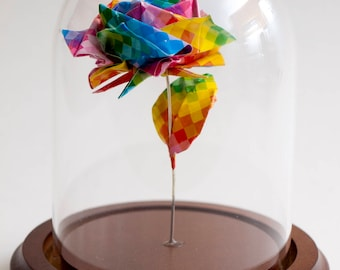 Eternal rose rainbow pixel origami decorative globe -MADE TO ORDER