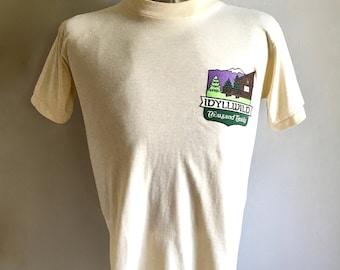 Vintage Men's 80's Idyllwild, T Shirt, Cream, Short Sleeve (S)