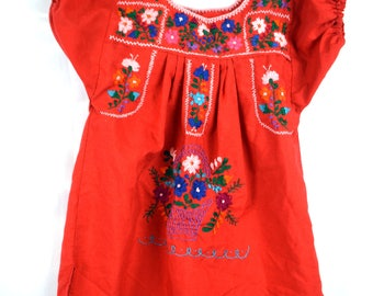 Sweet Boho Oaxaca Girl's Embroidered Dress