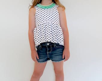 Cropped Top, Black and White or Blue and White polka dots  -  Toddler/Girls, crop top