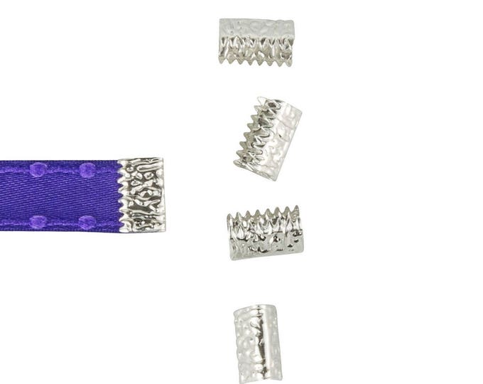 16 pieces 10mm or 3/8 inch Platinum Silver * NO LOOP * Ribbon Clamp End Crimps - Artisan Series