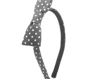 Gray Polka Dot Bow Headband - Little Girl Headband, Toddler Headband, Big Girl Headband, Adult Headband - Hard headband with Bow