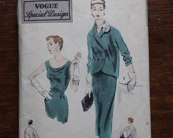 Vogue Sewing Pattern S-4374 Special Design One Piece Cocktail Dress and Jacket Size 18 Bust 36 Genuine 1950s VINTAGE by Plantdreaming