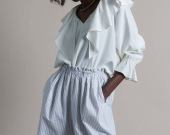 Vintage 80s White Striped High Waist Cotton Paper Bag Shorts