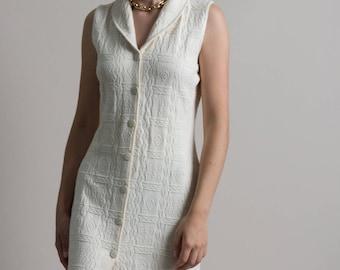 Vintage 90s Textured Cotton Knit Button Up Dress w/ Cutout Back