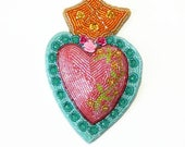 Sacred Heart Wall Hainging  Beaded Immaculate Heart Of Mary Day Of The Dead Flaming Heart *READY TO SHIP
