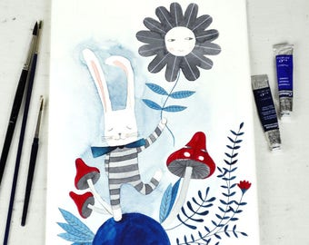 original watercolor painting illustration of a bunny with a flower and mushrooms in blue
